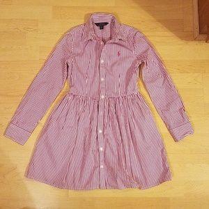Girls Ralph Lauren Dress Romper Button Up Shirt 12